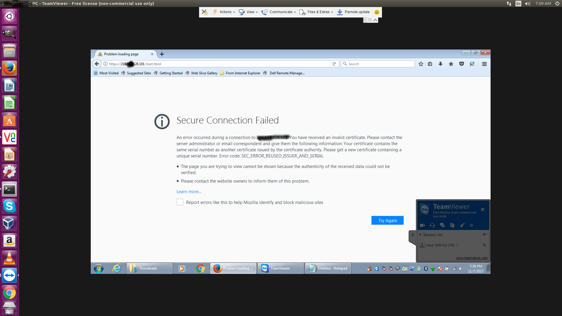 Secure Connection Failed while accessing IPMI |